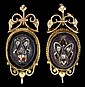 14 karat yellow gold, garnet and diamond earrings, , Cabochon garnet, featured atop a rose cut diamond set 'insect' with ruby 'eyes
