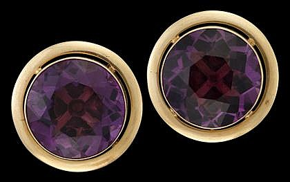 14 karat yellow gold and amethyst earrings, , Round cut amethyst, screw clip backings.