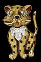18 karat yellow gold, diamond and enamel 'cat' pin, , Round cut diamond set 'collar'.