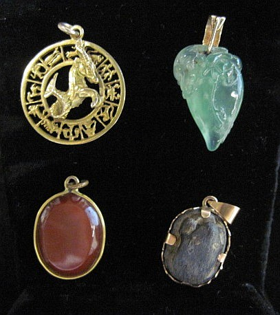 Miscellaneous pendant grouping, , Four items total.