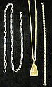 Group of three chains, , Including one sterling silver and one 14 karat yellow gold rope twist design.