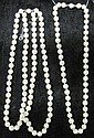 Group of two lady's pearl necklaces, , One double strand average approximate pearl size 8mm. One single strand average approximate pea
