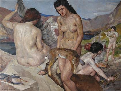 LOUISE D'AUSSY PINTAUD, (19TH - 20TH CENTURY), NUDES IN LANDSCAPE