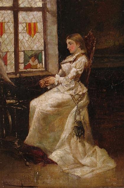 ENRIQUE MIRALLES DARMANIN, (1855-1883), YOUNG LADY BY THE WINDOW