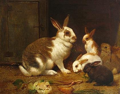 HENRY WILLIAM CARTER, (BRITISH FL. 1880-1895), RABBITS