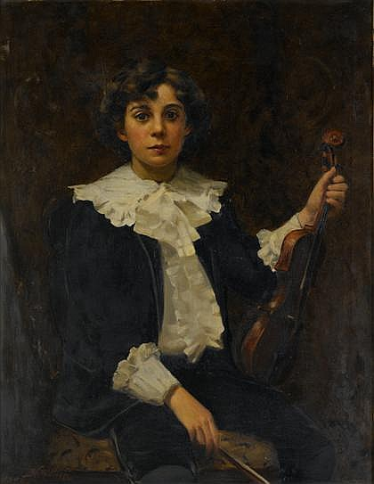 BENJAMIN FERRIS GILMAN, (AMERICAN 1856-1934), THE YOUNG VIOLINIST