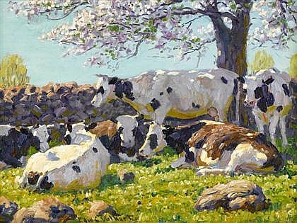 EDWARD CHARLES VOLKERT, (AMERICAN 1871-1935), CATTLE RESTING IN THE SHADE OF A CHERRY TREE