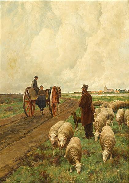 FRANS VAN LEEMPUTTEN, (BELGIAN 1850-1914), A ROADSIDE CONVERSATION