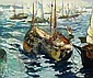 GEORGE ELMER BROWNE, (AMERICAN 1871-1946), FISHING BOATS SETTING SAIL, George Elmer Browne, Click for value