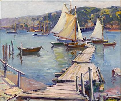 JULIET BURDOIN, (AMERICAN B. 1873), SAILBOATS BY A WHARF