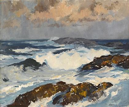 HENRY RUSSELL BALLINGER, (AMERICAN 1892-1994), BREAKERS ON A ROCKY SHORE