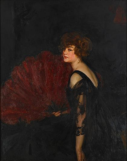 JOHN DA COSTA, (BRITISH 1867-1931), LADY WITH RED OSTRICH FEATHER FAN