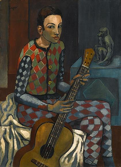 CELSO LAGAR, (SPANISH 1891-1966), HARLEQUIN WITH GUITAR AND MONKEY