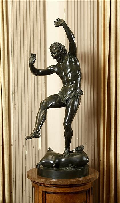 Eugene-Louis Lequesne (French, 1815-1887), dancing faun, Bronze, dark brown patina, signed 'E. Lequesne'.