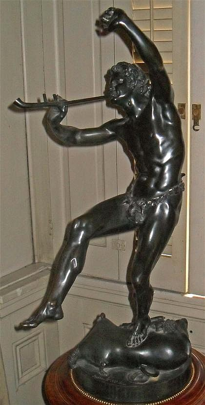 Eugene-Louis Lequesne (French, 1815-1887), dancing faun, Bronze, dark brown patina, with 'Suisse Freres' foundry seal and signed 'E. Le