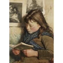 WALTER LANGLEY, (BRITISH 1852-1922), GIRL READING