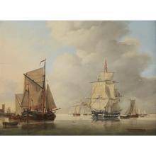 JAN HENDRIK BOSHAMER, (DUTCH 1775-C. 1843), SHIPS IN HARBOR