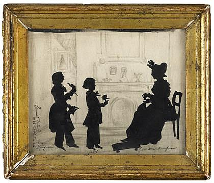 Samuel Metford (British 1810-1896), silhouette of kaufman family members, charleston, sc. dated 1838, Signed, dated and inscribed,