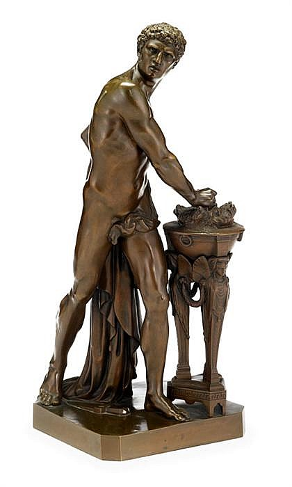 After Louis-Pierre Deseine (French, 1749-1822), mucius scaevola, Bronze, medium brown patina, modeled as a partially nude classical fig