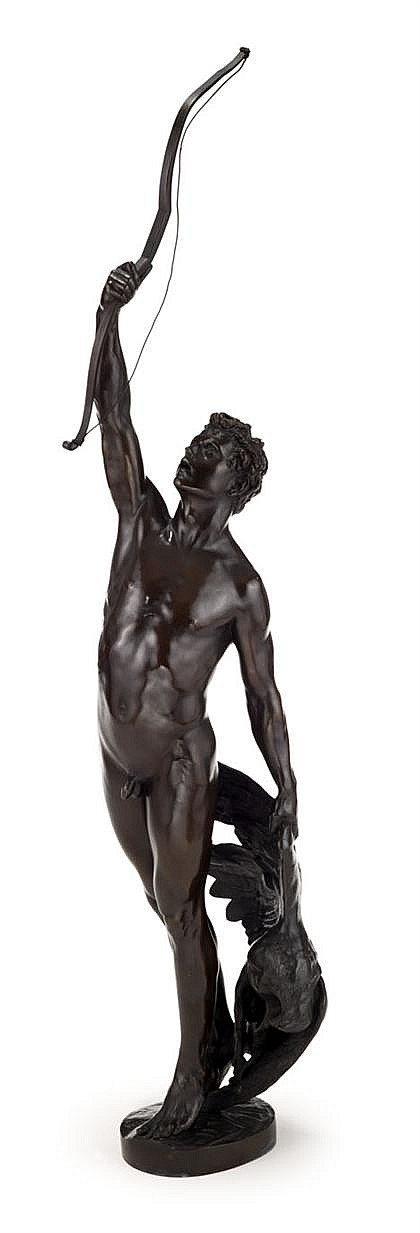Joseph Uphues (German, 1850-1911), the eagle slayer, Bronze, medium brown patina, inscribed 'J.Uphues/ '92' to the top and inscribed to