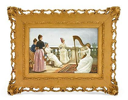 Austrian painted ceramic plaque by Josef Zasche (1821-1881), late 19th century, 'Inspiration' after a painting by Georges van den Bos