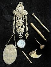Group of assorted antique jewelry items, , Gold tone chatalaine with large locket and mirror, fob, and pocket watch, open face circular