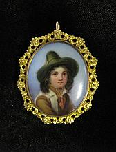 14 karat yellow gold portrait pendant brooch, , Portrait of a young male in a hat, detailed gold foliate surround, inscribed on verso