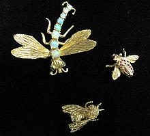 Group of three 14 karat yellow gold and gemstone 'insect' pins, , 'Dragonfly' featuring graduated petite cabochon opal 'body', petite r