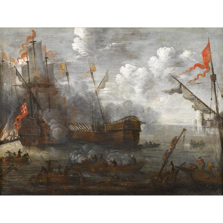 FOLLOWER OF PIETER VAN DEN VELDE, (FLEMISH 1634-1687), NAVAL ENGAGEMENT