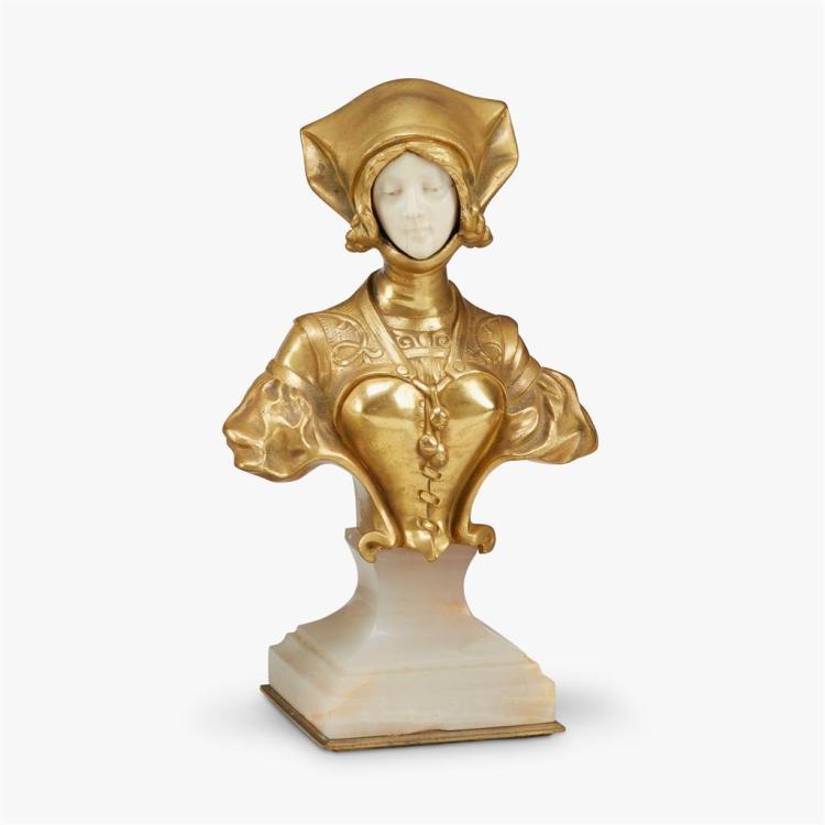 Francois Alphonse Piquemal (French, 19th/20th century), buste de juene fille en costume medieval