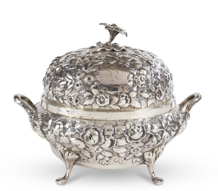 A sterling silver sugar bowl, andrew ellicott warner, baltimore, md, 19th century