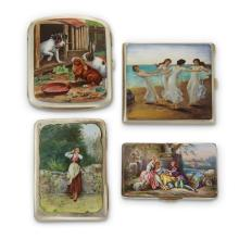 Four silver and enamel cases,
