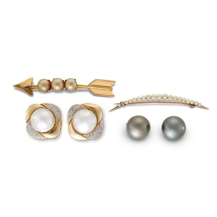 A collection of cultured pearl, diamond and gold jewelry,