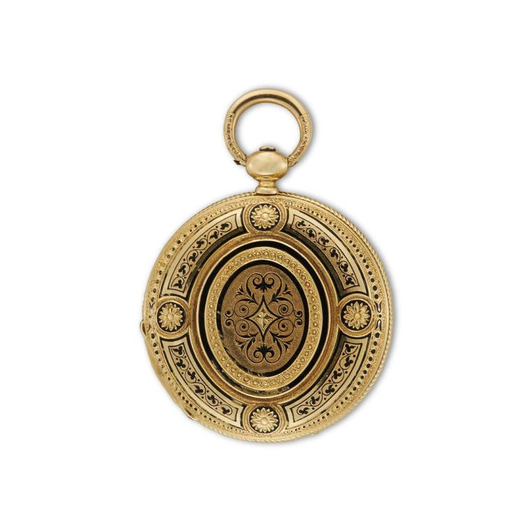 An eighteen karat gold hunting case pocket watch, David J. Magnin, swiss, 19th century