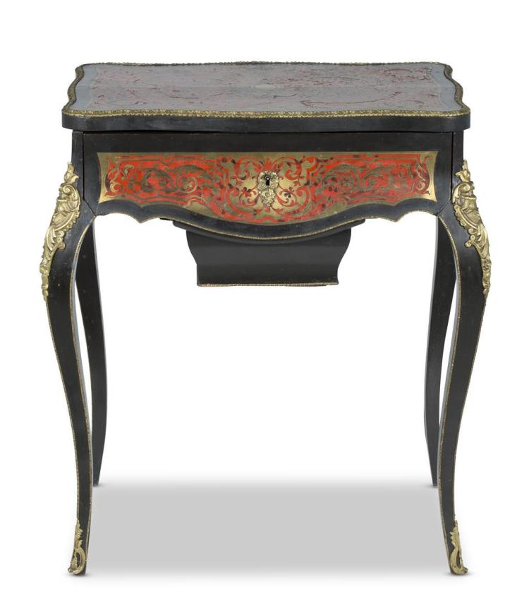 A Napoleon III boulle marquetry sewing table, french, 19th century