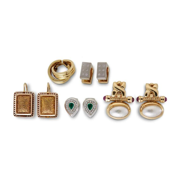 A collection of five pairs of gem-set, diamond, eighteen and fourteen karat gold earrings,