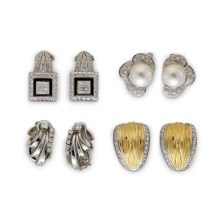 A collection of four pairs of diamond, gem-set and eighteen karat gold earrings,