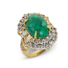 An emerald, diamond and gold ring,