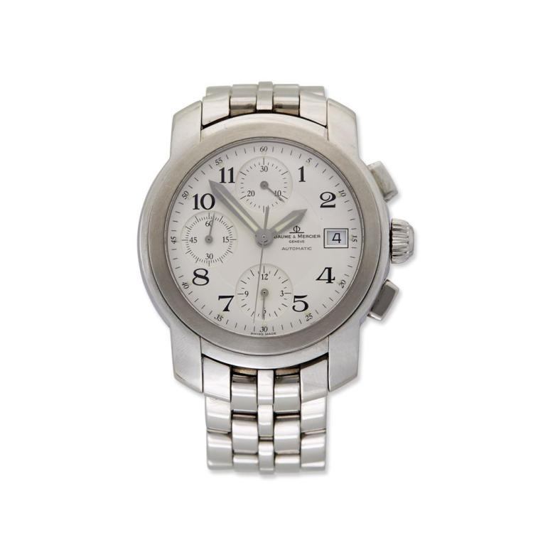 A gent''s stainless steel automatic chronograph bracelet watch with date , Baume and Mercier,