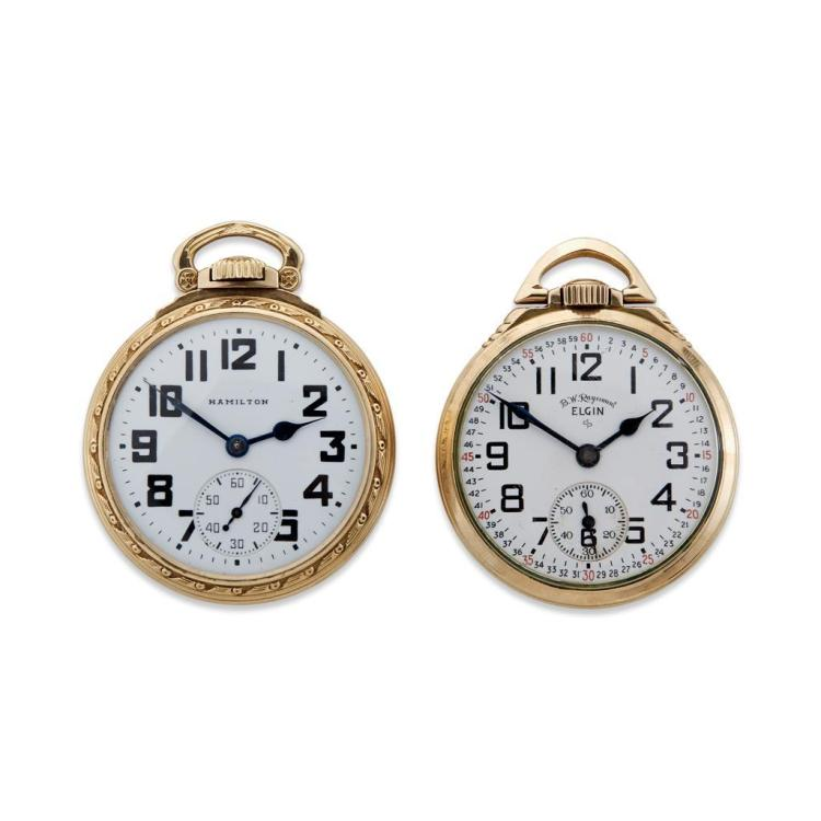 A collection of two railroad grade pocket watches, Elgin & Hamilton,