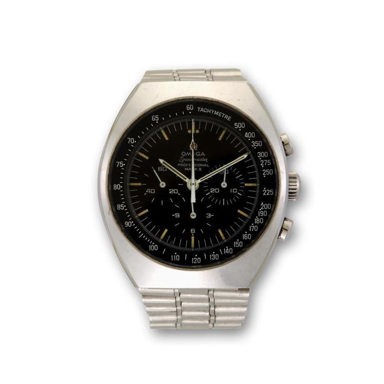A stainless steel chronograph bracelet watch, Omega, speedmaster professional mark II