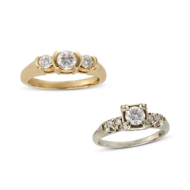 A collection of two diamond and fourteen karat gold rings,