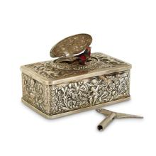 A Swiss silvered-metal singing bird box, Apparently unmarked, possibly Swiss, ca. 1900-1920