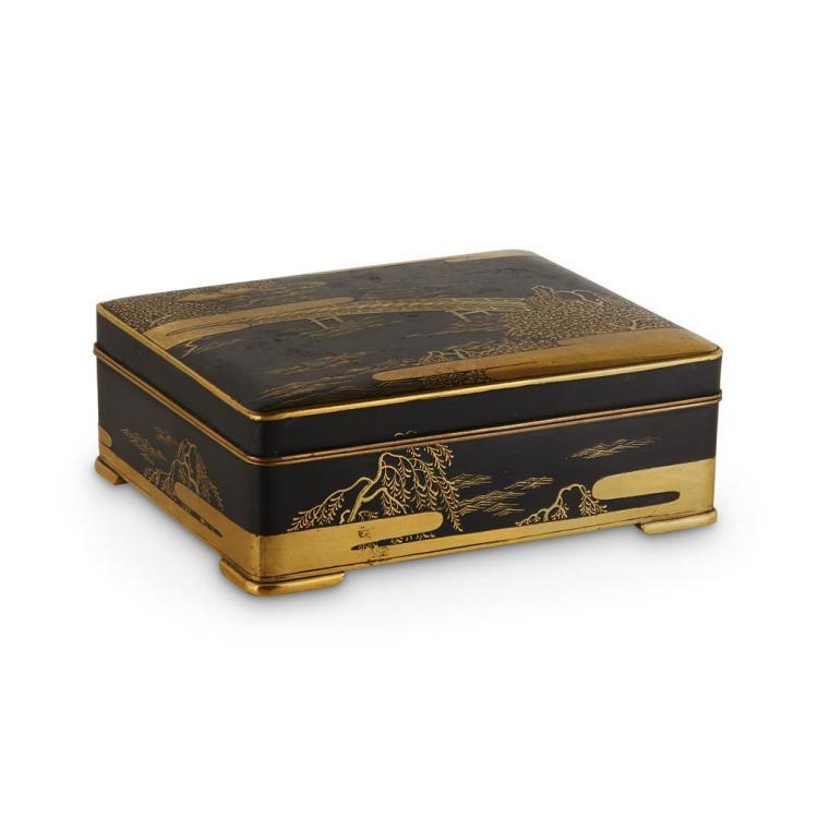 A grouping of seven shakudo boxes,