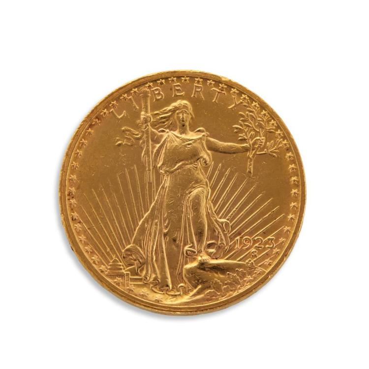 A twenty dollar American gold coin,