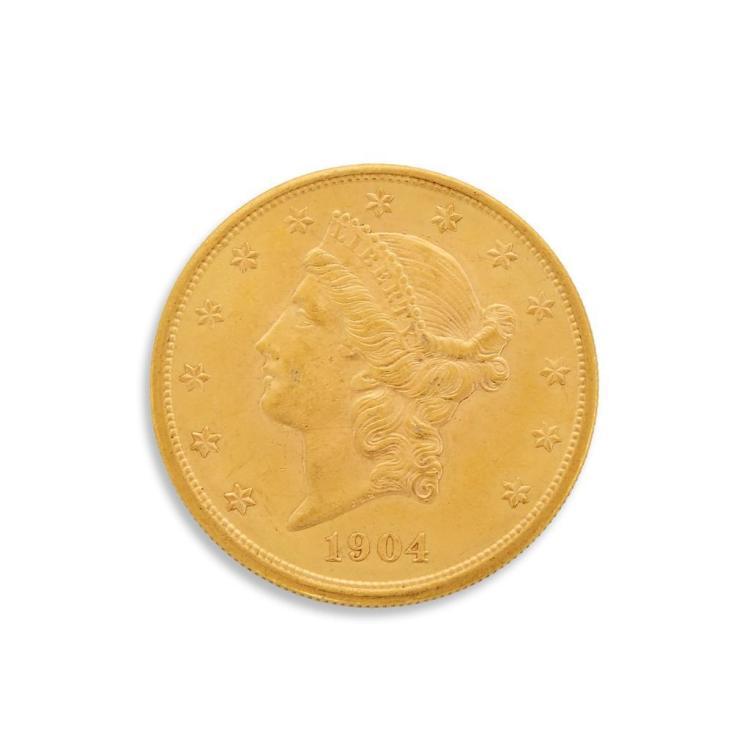 A twenty dollar American gold coin,