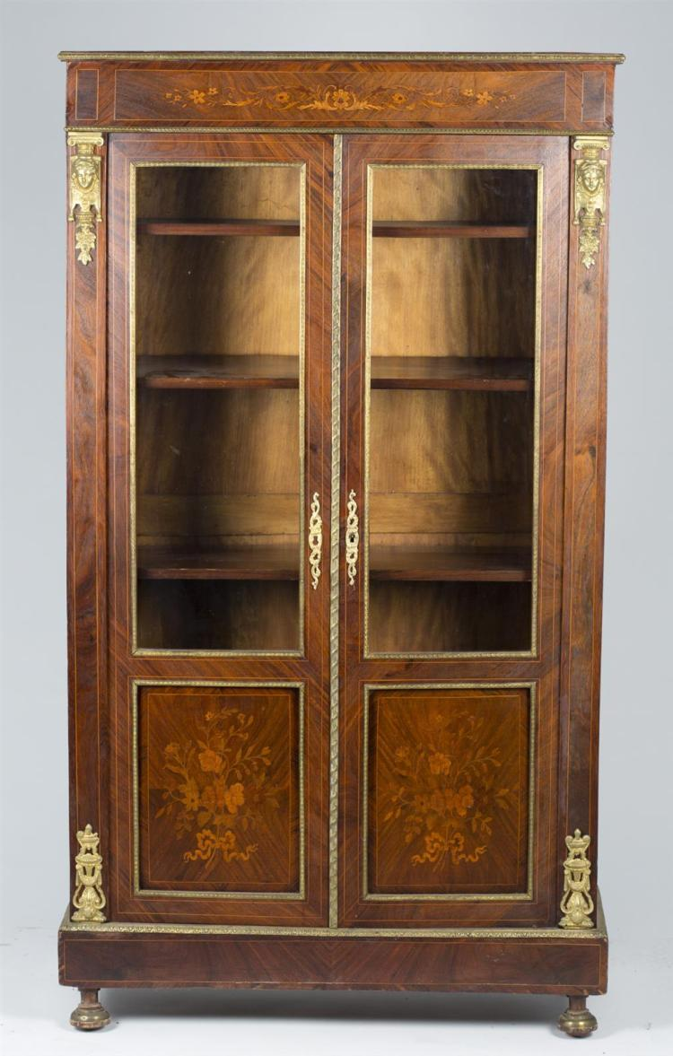 A French walnut marquetry curio cabinet, late 19th/early 20th century