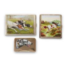 Three silver and enamel boxes,