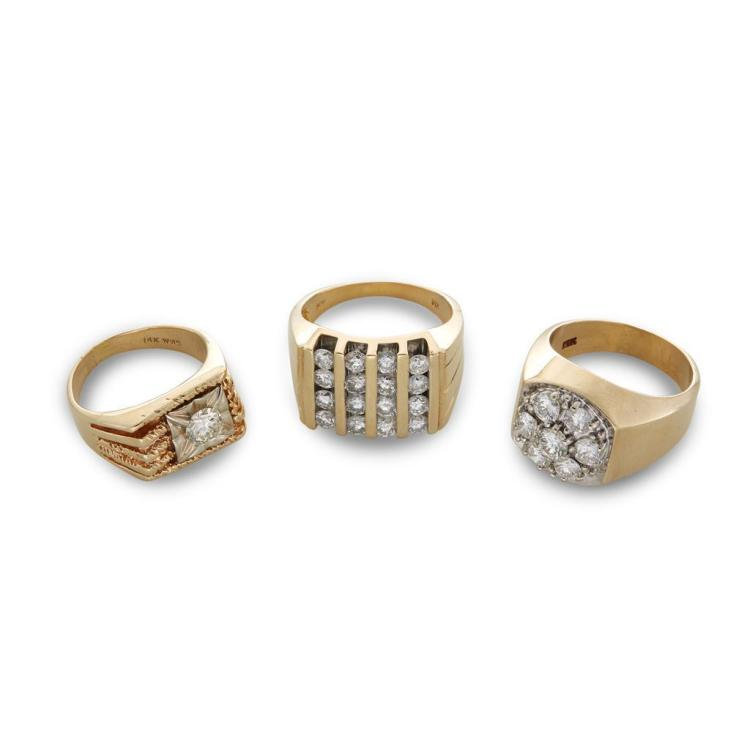 A collection of three gent''s diamond and gold rings,