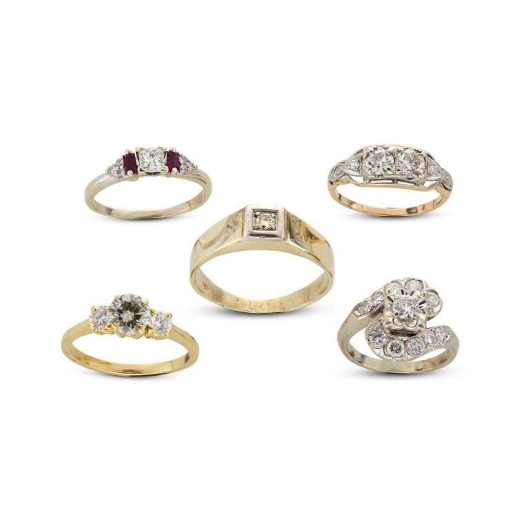 A collection of five diamond, ruby and gold rings,